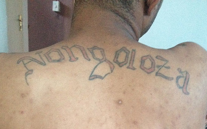 A Mitchells Plain gang leader shows his tattoo on 26 February 2013. Picture: Giovanna Gerbi/EWN
