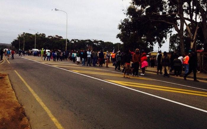 Masiphumelele residents protest on 3 May 2016. Picture: Shamiela Fisher/EWN.