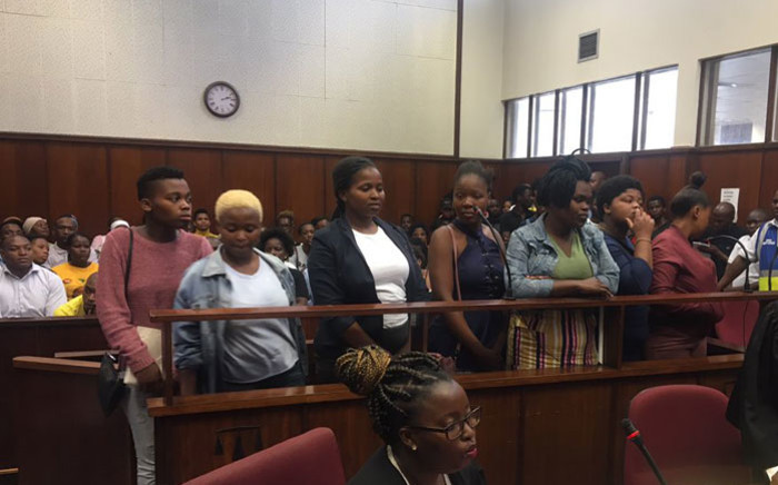 Students accused of public violence outside a Unisa building appear in the Durban Magistrates Court on 28 January 2020. Picture: Nkosikhona Duma/EWN