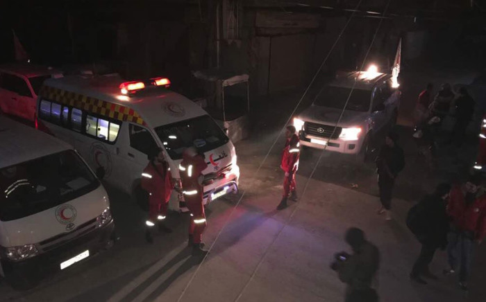 International Committee of the Red Cross team evacuating critically injured people from the Syrian rebel-held enclave of Eastern Ghouta. Picture: @ICRC_sy/Twitter.