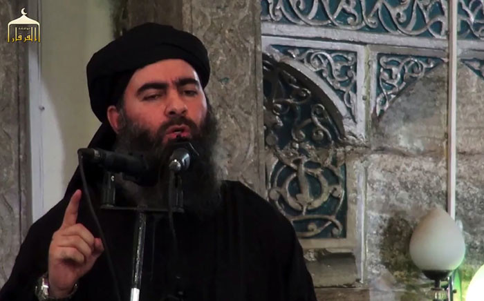 FILE: This file image grab taken from a propaganda video released on 5 July 2014 by al-Furqan Media allegedly shows the leader of the Islamic State (IS) jihadist group Abu Bakr al-Baghdadi, aka Caliph Ibrahim, adressing Muslim worshippers at a mosque in the militant-held northern Iraqi city of Mosul. Picture: AFP.