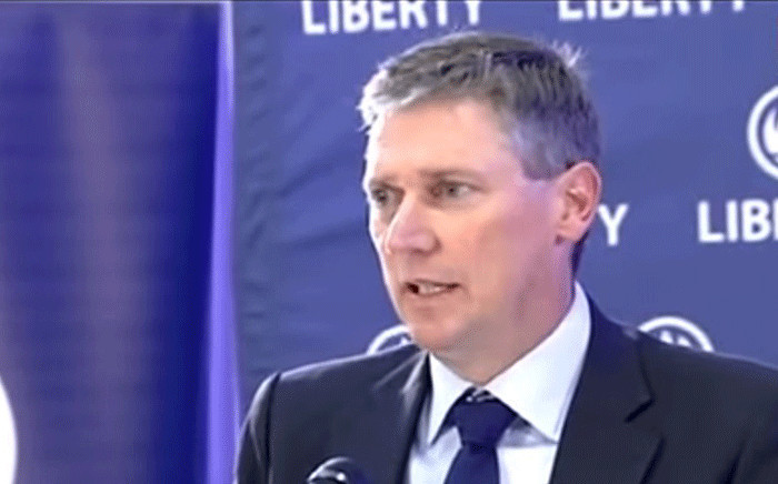 A screengrab shows Liberty CEO David Munro who addressed the media on 17 June 2018, after Liberty Group's system was hacked. Picture: SABC Digital News/youtube.com