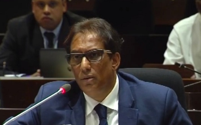 A screengrab shows media mogul Iqbal Survé at the PIC Inquiry on April 2019. Picture: SABCNews/Youtube