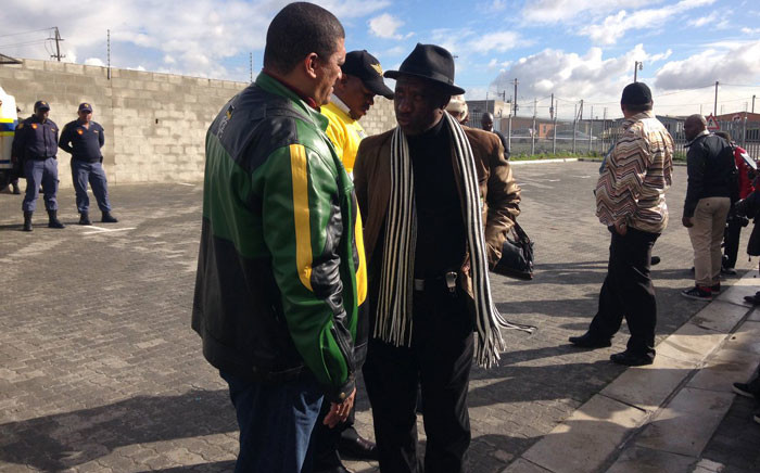 Embattled ANC WC leader Marius Fransman in Philippi with other PEC members. Picture: Xolani Koyana/EWN.