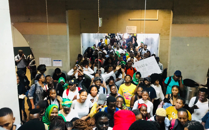 Wits University students protesting over a lack of accommodation on 4 March 2020. Picture: Veronica Makhoali/EWN.
