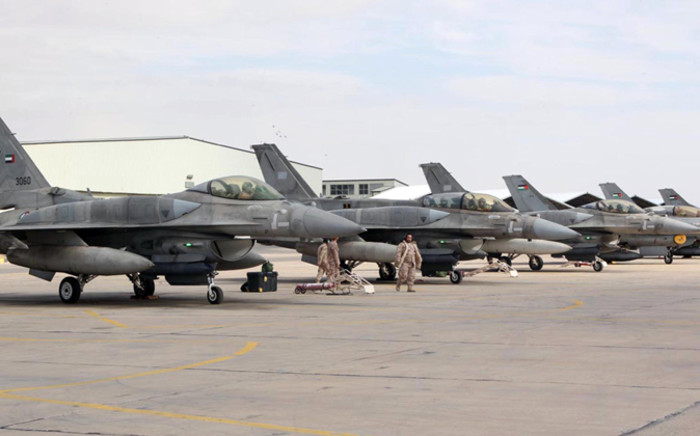 A squadron of United Arab Emirates (UAE) F-16 fighters stationed in one of Jordan's air bases to support it in strikes against the Islamic State group on 8 February 2015. Picture: AFP.