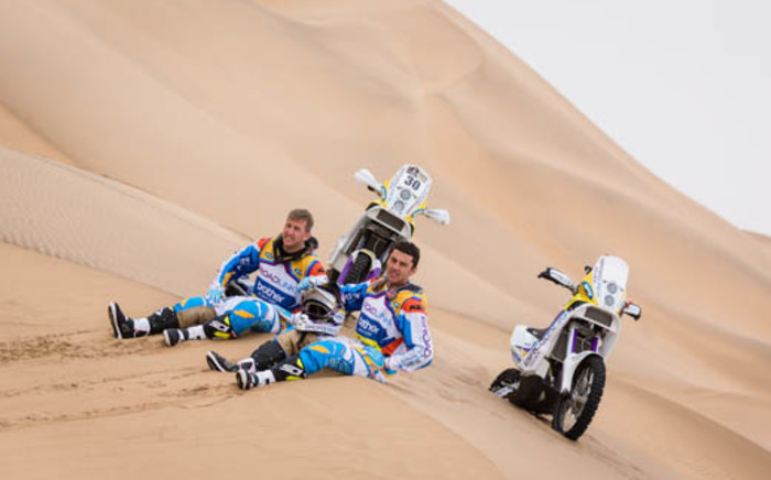 South African Dakar participants, Riaan Van Niekerk and Darryl Curtis take five after a pre-rally training session in Namibia