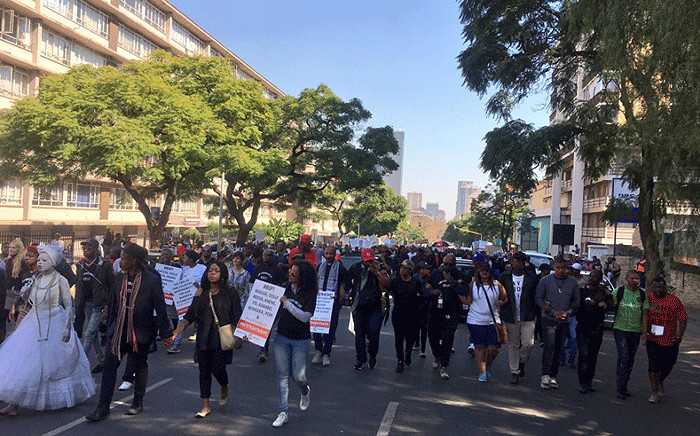 Participant march against gender-based violence in Pretoria on 20 May 2017. Picture: Katleho Sekhotho/EWN.