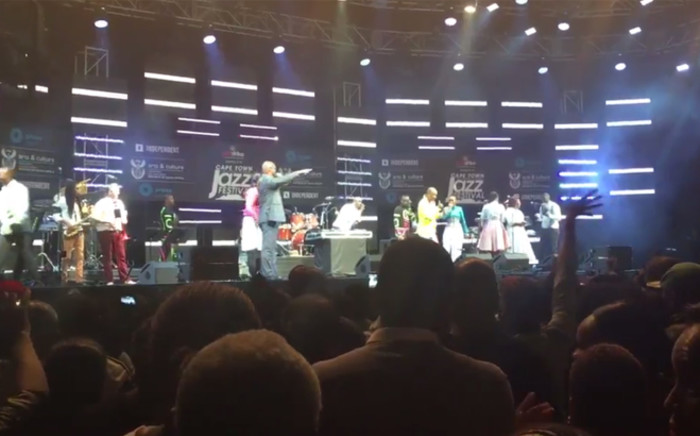 A screengrab picture showing Arts and Culture Minister Nathi Mthethwa at the Cape Town International Jazz Festival as he was being booed off stage on 2 April 2016. Picture: