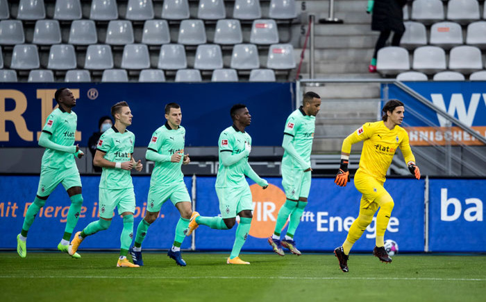 Borussia Moenchengladbach players celebrate a goal. Picture: @borussia_en/Twitter