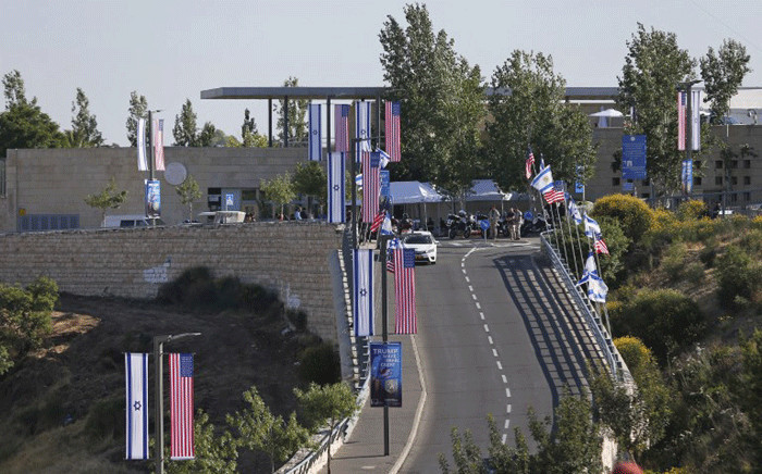 A picture taken on 14 May 2018, shows a general view of the United States Embassy in Jerusalem. The United States moved its embassy in Israel to Jerusalem after months of global outcry, Palestinian anger and exuberant praise from Israelis over President Donald Trump's decision tossing aside decades of precedent. Picture: AFP.