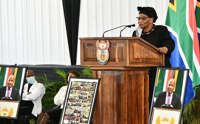 National Speaker of Parliament, Thandi Modise at Jackson Mthembu's funeral on 24 January, 2021. Picture: GCIS.