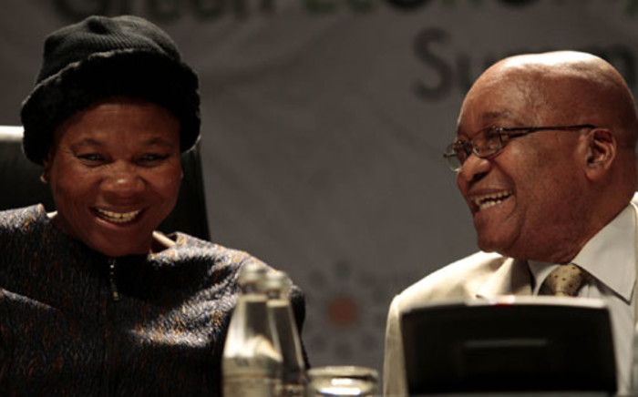 File picture: Mineral Resources Minister Susan Shabangu speaks to President Jacob Zuma during a 2010 conference. Picture: SAPA.