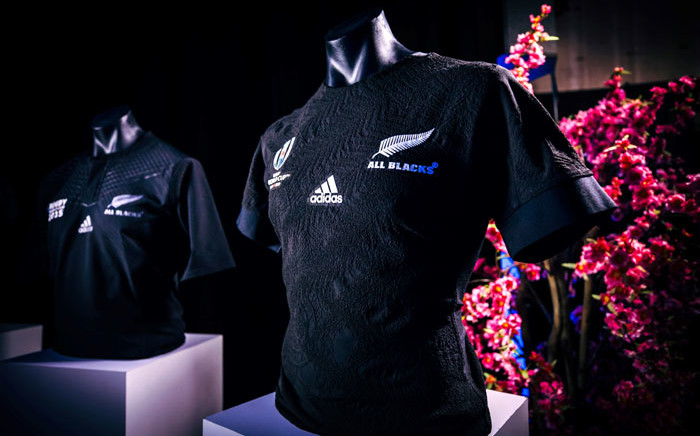 A handout photo taken and received from Adidas on 1 July 2019 in Auckland shows the New Zealand All Blacks' jersey for this year's Rugby World Cup in Japan. Picture: AFP