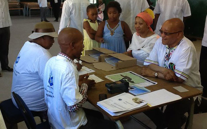 President Jacob Zuma along with his wife Thobeka Madiba registering at the Ntolwane Primary school. Picture: Rafiq Wagiet/EWN