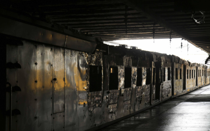 FILE: A torched Metrorail train. Picture: Cindy Archillies/EWN