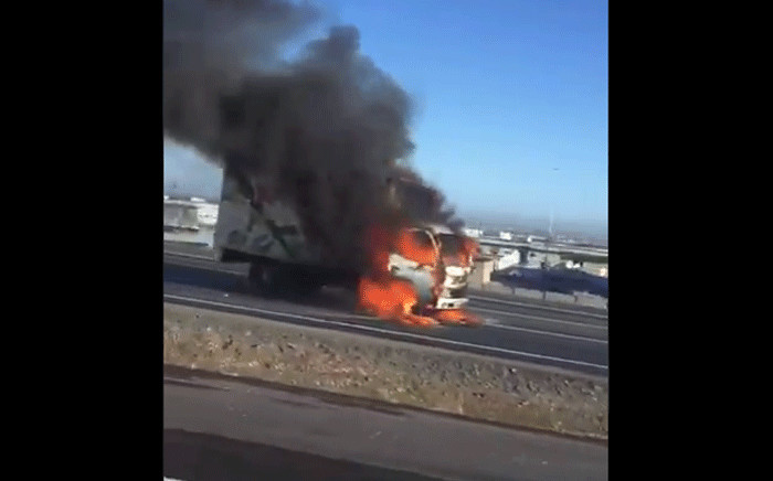 A truck is alight on the N7 near Malmesbury. Picture: Screengrab.