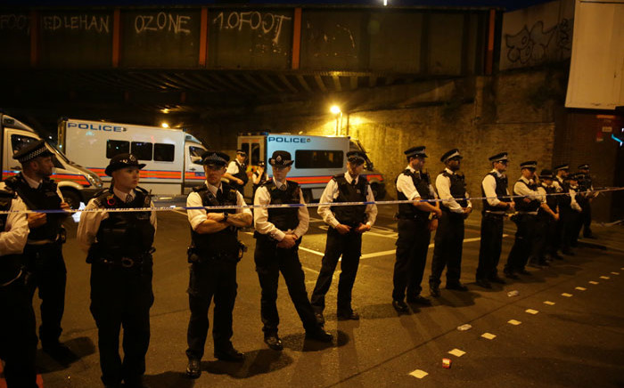 London police cordon off a crime scene where a van rammed people leaving the Finsbury Park Mosque. Picture: AFP