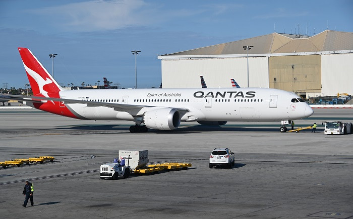 A Boeing 787-9 Dreamliner from Qantas Air Lines is seen on the tarmac of LAX Los Angeles airport on 11 May 2019. Picture: AFP