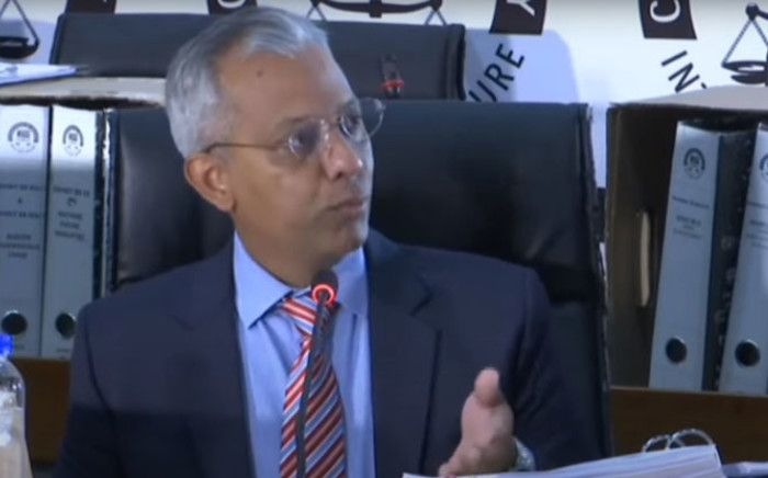 A screengrab of Anoj Singh appearing at the state capture inquiry on 17 June 2021. Picture: SABC/YouTube