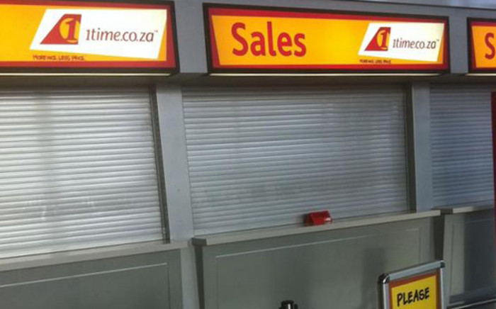 1Time closes shop after filing for liquidation on 2 November, 2012. Picture: Sheldon Morais/EWN.