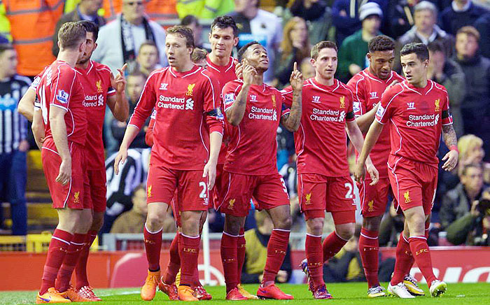 Liverpool players celebrate a 2-0 victory against Newcastle in the English Premier League on 13 April 2015. Picture: LFC FB