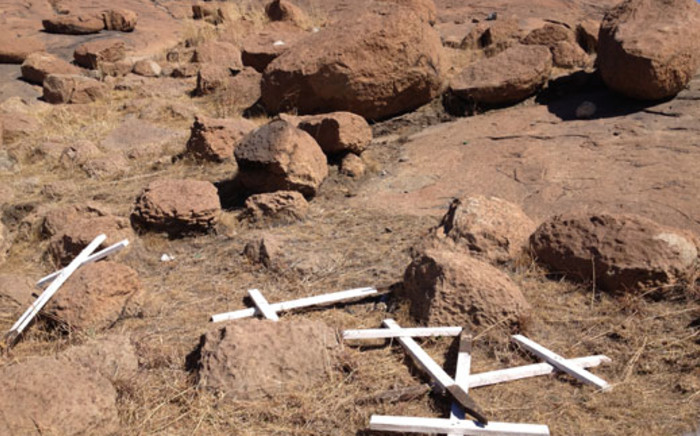 FILE: Crosses on the koppie in Marikana, where 34 miners were killed in a standoff with police on 16 August 2012. Picture: Christa van der Walt/EWN.