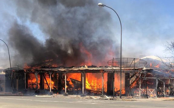 Cubana restaurant in Bloemfontein destroyed by fire. Picture: Twitter.