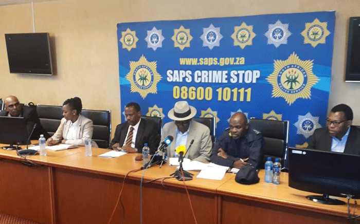 Police Minister Bheki Cele announces the arrest of 3 suspects linked to bomb threats in KwaZulu-Natal on 5 October 2018. Picture: @SAPoliceService/Twittter.
