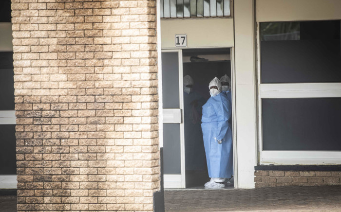 Healthcare workers at the Nasrec Field Hospital in Johannesburg. Picture: Abigail Javier/Eyewitness News