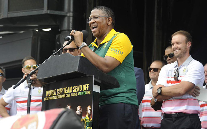 FILE: Minister of Sports, Fikile Mbalula, speaking during a ceremony ahead of Proteas's send-off to the Cricket World Cup. Picture:  RSA Min of Sport @MbalulaFikile.