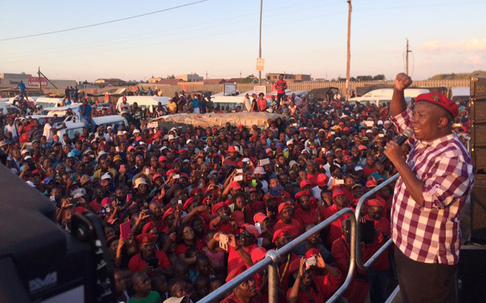 EFF leader Julius Malema addressing the Diepsloot community ahead of the party's manifesto launch. Picture: Economic Freedom Fighters Facebook page.