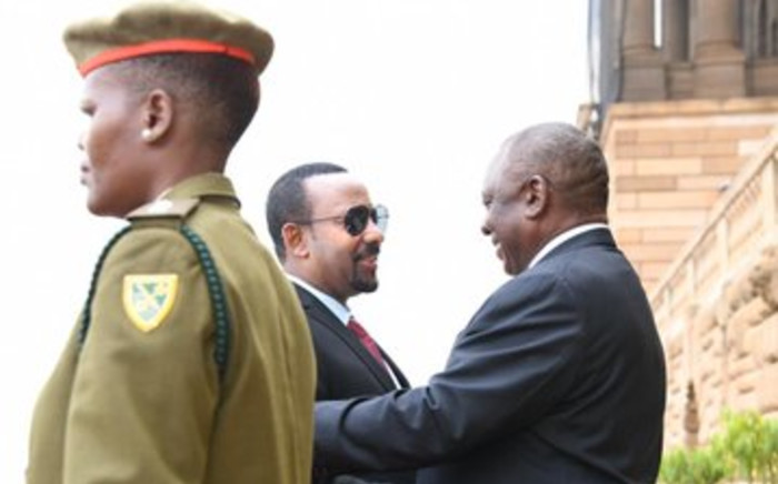 The Presidency says the Abiy Ahmed visit provides an opportunity to further explore new economic, trade and investment opportunities between the two nations. Picture: Presidency/Twitter