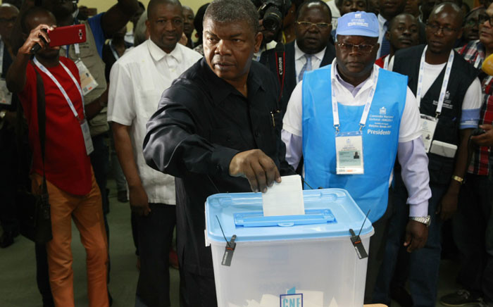 The People's Movement for the Liberation of Angola presidential candidate João Lourenço casts his vote in Luanda on 23 August 2017 during the general elections. Picture: AFP.