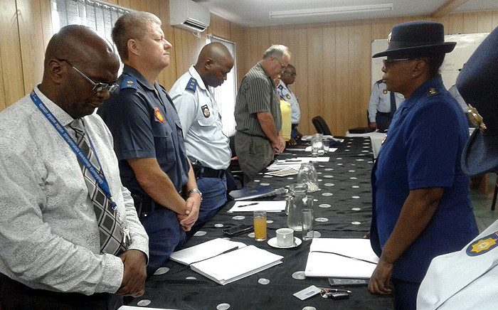 Eastern Cape police officials observe a moment of silence after five officers were killed during an attack at the Ngcobo police station on 21 February 2018. Picture:@SAPoliceService/Twitter.