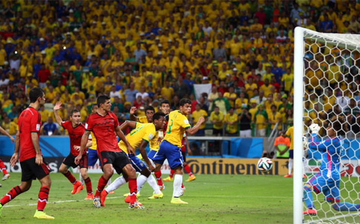 Brazil's captain Thiago Silva gets his attempt on goal saved by Mexican goalkeeper, Guillermo Ochoa in the dying minutes of the the Fifa World Cup match on 17 June 2014. Picture: Fifa.com.