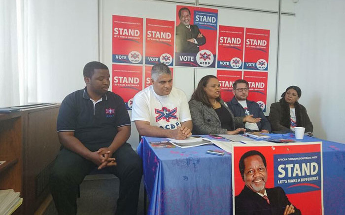 The ACDP launches its Western Cape manifesto and introduces mayoral candidate Ferlon Christians (in white T-shirt). Picture: @ACDPWC/Twitter