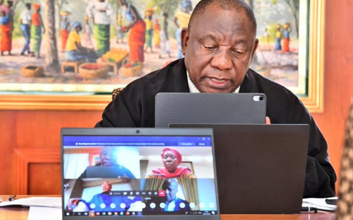 President Cyril Ramaphosa held the first virtual meeting with the national command council on COVID-19 to assess progress and challenges on the implementation of the nationwide lockdown. Picture: Twitter/PresidencyZA