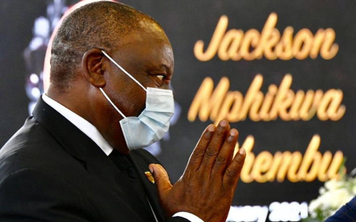 President Cyril Ramaphosa delivered the eulogy at the late Jackson Mthembu's funeral in Emalahleni on Sunday, 24 January 2021. Picture: GCIS.