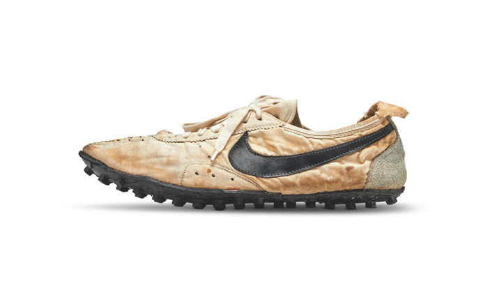 """A new world record for a pair of sneakers was set at auction on Tuesday when an avid collector splashed out $437,500 on Nike's 1972 """"Moon Shoe,"""". Picture: Sotheby's"""