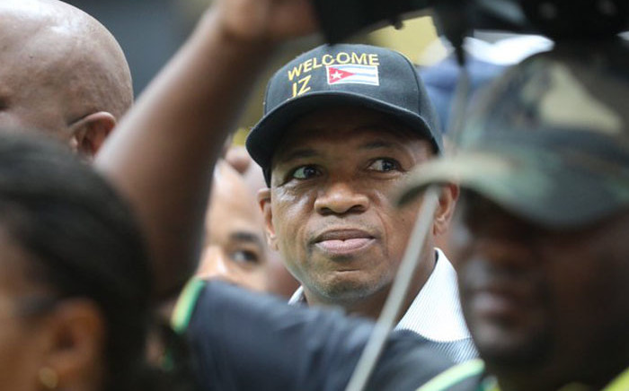 Former North West Premier Supra Mahumapelo at the OR Tambo International Airport where he is amongst hundreds waiting for Jacob Zuma. Picture: Kayleen Morgan/EWN