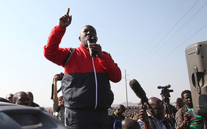 Expelled ANCYL leader Julius Malema visited striking Lonmin mineworkers in Marikana in the North West on 18 August 2012. Picture: Taurai Maduna/EWN.