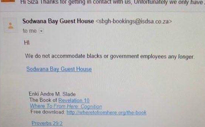 A photo shows the email sent by owner of Sodwana Bay Guesthouse Andre Slade. Picture: Twitter.