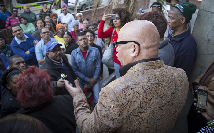 FILE: Mayor Truman Prince tries to placate angry community members outside the local court. Picture: Aletta Harrison/EWN.