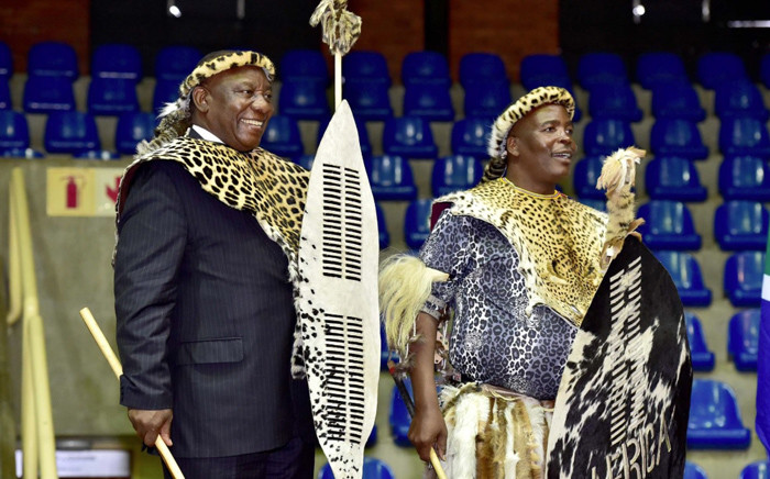 President Cyril Ramaphosa hands over 4,586 hectares of land to the community of KwaMkhwanazi in Empangeni, KwaZulu-Natal. Picture: @SAgovnews/Twitter.