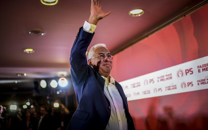 FILE: Socialist party candidate and Portuguese Prime Minister Antonio Costa waves as he addresses the nation after winning Portugal's General Election in Lisbon on 6 October 2019. Picture: AFP.