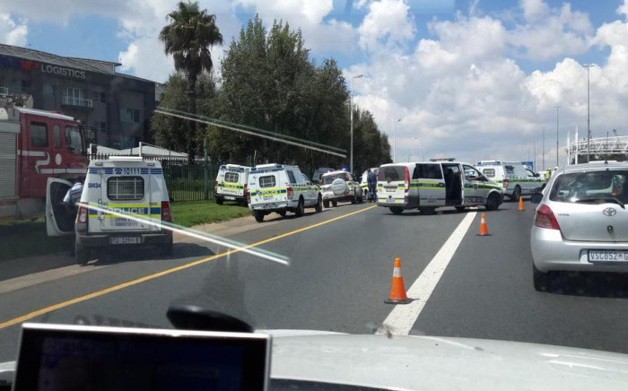 FILE: Police on the scene of the shooting on the N3 South in Modderfontein near Longmeadow Business Park. Picture: Margot van Ryneveld/iWN
