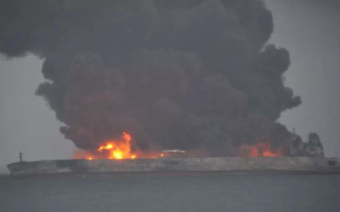 A screengrab showing a tanker carrying Iranian oil ablaze after colliding with a Chinese bulk ship off China. Picture: @CNS1952/Twitter.