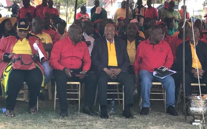 President Zuma seated alongside SACP, Sanco & Cosatu leaders at Cosatu's May Day rally in Bloemfontein on 1 May 2017. Picture: Kgothatso Mogale/EWN.