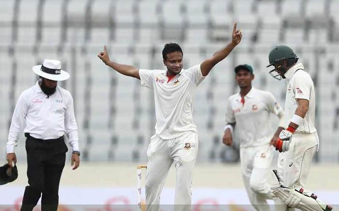 FILE: Shakib Al Hasan (centre) celebrates a wicket. Picture: Twitter/@ICC